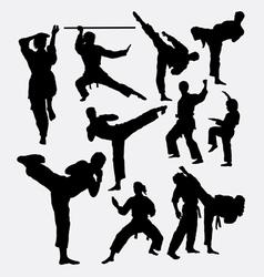 Karate fighting martial art silhouette vector
