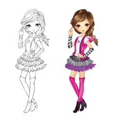 Coloring book of girl in vest vector