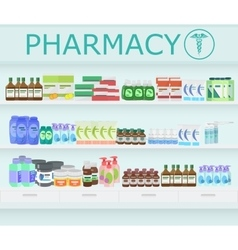 Modern pharmacy drugstore interior pills and vector
