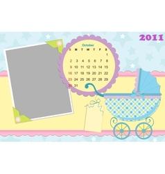 Babys calendar for october 2011 vector image