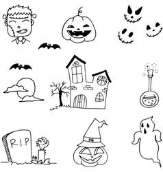 Black white halloween doodle vector