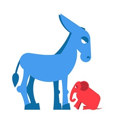 Big blue donkey and little red elephant symbols of vector