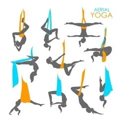 Anti-gravity yoga for women vector