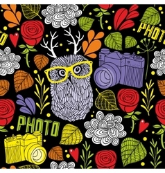 Colorful seamless pattern with cute owl with horns vector