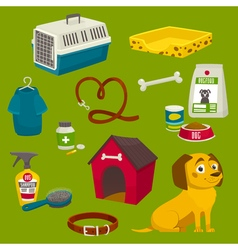 Dog care object set items and stuff cartoon food vector image