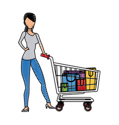 Drawing woman standing shooping image vector