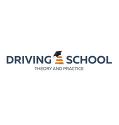 Driving school logo auto education the rules of vector