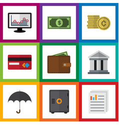Flat icon incoming set of cash bank document and vector