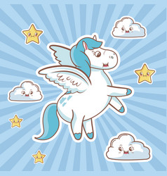 Flying unicorn card cloud stars fantasy desing vector