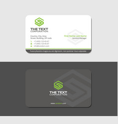 Gray business card with green letter s vector