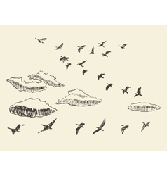 Hand drawn flying birds sky clouds migratory vector