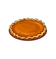 Hand drawn pumpkin pie thanksgiving symbol food vector