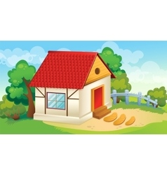 House and village courtyard vector