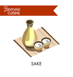 Japanese sake in bottle with small bowls on bamboo vector