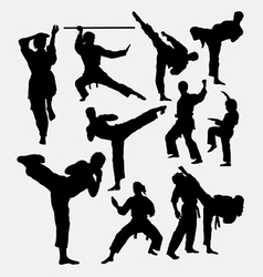 Karate fighting martial art silhouette vector