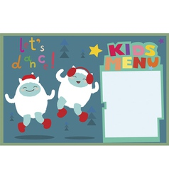Kids menu a3 format holiday with dancing yeti vector