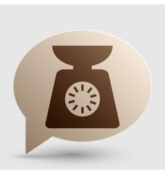 Kitchen scales sign brown gradient icon on bubble vector