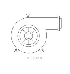 Line flat icon car repair part - turbine vector