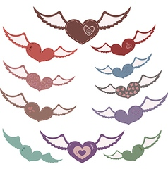 Many hearts with wings vector image vector image