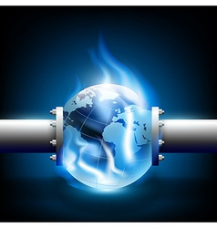 Planet earth and pipes for fuel production vector