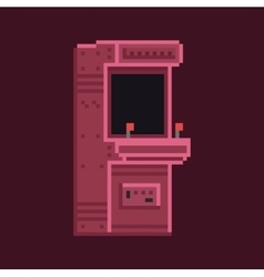 Retro pixel art 8 bit arcade cabinet machine vector