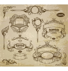 Set of vintage elements ribbons and emblem vector image