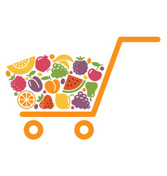 shopping cart with fruit vector image vector image