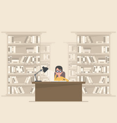 student reading a book in the library vector image