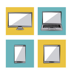 white background with color frames with icons in vector image