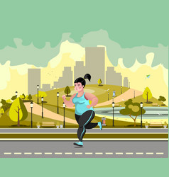 Woman jogging in the park against the backdrop of vector