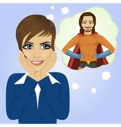 Young businesswoman dreaming about superhero man vector image vector image