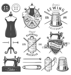 Set of vintage monochrome tailor tools and emblems vector