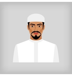Muslim man in traditional white clothes vector