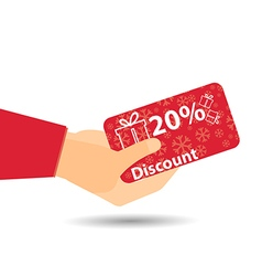 Discount coupons in hand 20-percent discount vector
