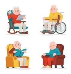 Old man characters sit sleep web surfing read vector