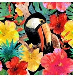 Tropical seamless background Bird toucan sitting vector image
