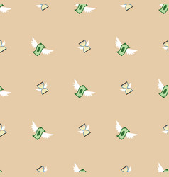 Seamless pattern of flying paper money and vector