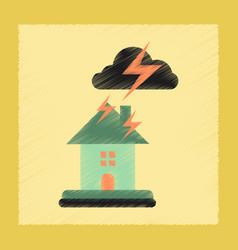 Flat shading style icon lightning house vector