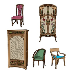 Art nouveau furniture vector