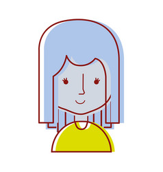 Avatar caricature young beautiful woman vector