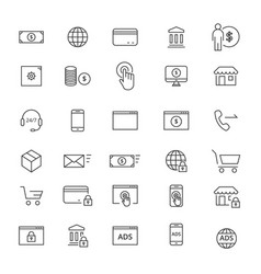 30 commerse line icons vector image vector image