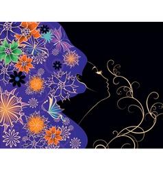 flowers girl on black background vector vector image