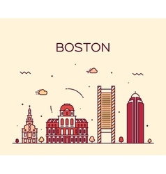 Boston skyline trendy linear vector