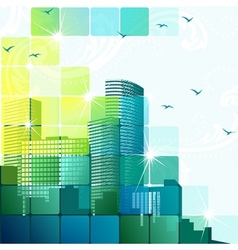 Dynamic cityscape in green vector