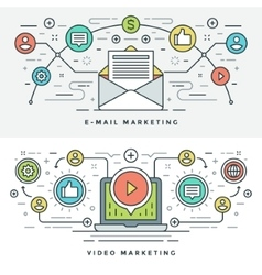 Flat line e-mail and video marketing concept vector