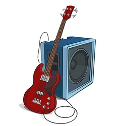 Bass and amplifier colored vector