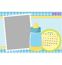 Babys calendar for november 2011 vector image