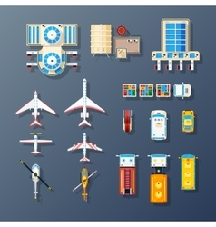 Airport transport and facilities elements vector