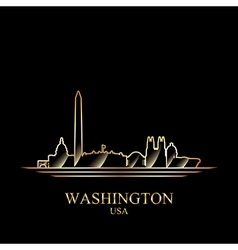 Gold silhouette of washington on black background vector