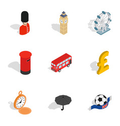 British culture icons isometric 3d style vector